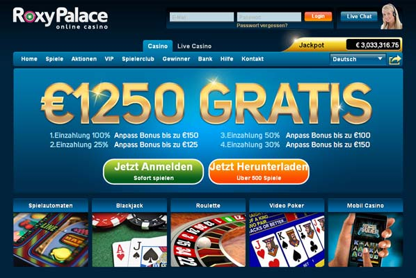 Roxy Palace Casino Webseite