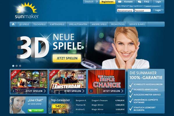 Sunmaker Casino Webseite